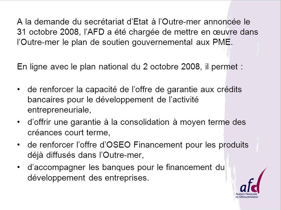 A la demande du secrétariat dEtat à lOutre-mer annoncée le 31 octobre 2008, lAFD a été chargée de mettre en œuvre dans lOutre-mer le plan de soutien g