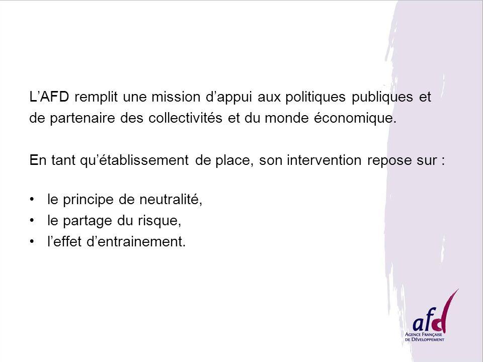 LAFD remplit une mission dappui aux politiques publiques et de partenaire des collectivités et du monde économique. En tant quétablissement de place,