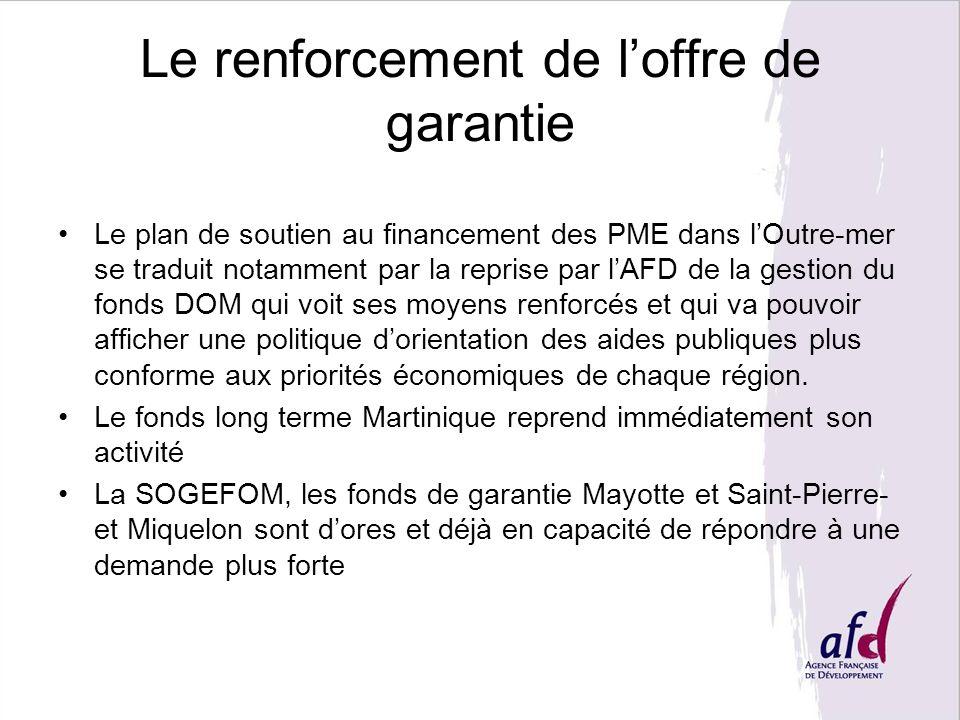 Le renforcement de loffre de garantie Le plan de soutien au financement des PME dans lOutre-mer se traduit notamment par la reprise par lAFD de la ges