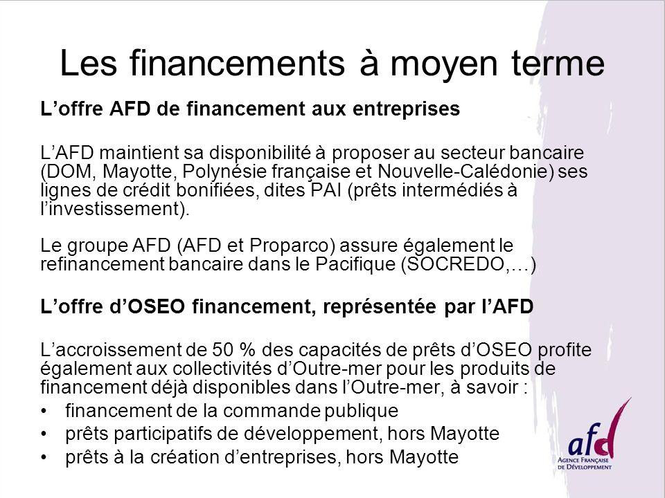 Les financements à moyen terme Loffre AFD de financement aux entreprises LAFD maintient sa disponibilité à proposer au secteur bancaire (DOM, Mayotte,