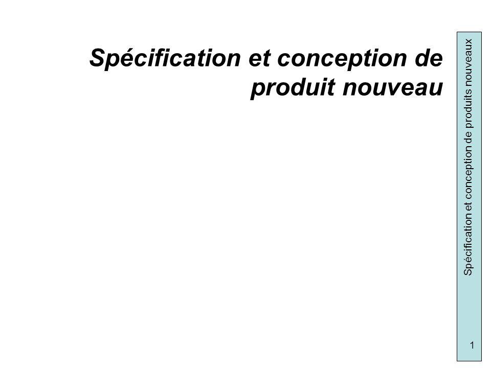 Spécification et conception de produits nouveaux 32 Courbe ABC ou de PARETO ou des 20-80: A B C Fonctions de grande importance pour le client: FC1.1.1 FP1.1 FP1.4 FP2.1 Fonctions importantes pour le client : FC1.1.2 FP1.3 FP2.2 FC2.1 FC2.2 FC2.3 Fonctions de relative importance pour le client: les autres Hiérarchisation des fonctions (Courbe ABC)