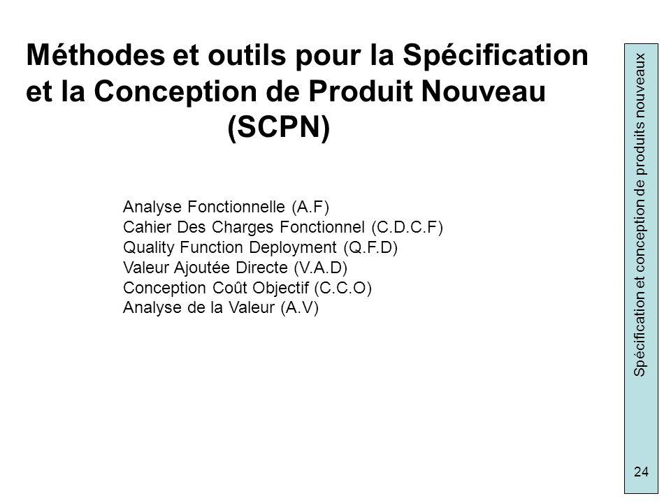 Spécification et conception de produits nouveaux 24 Méthodes et outils pour la Spécification et la Conception de Produit Nouveau (SCPN) Analyse Foncti