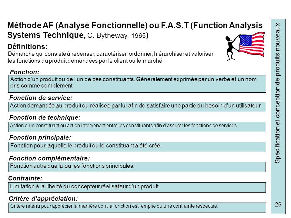 Spécification et conception de produits nouveaux 26 Méthode AF (Analyse Fonctionnelle) ou F.A.S.T (Function Analysis Systems Technique, C. Bytheway, 1
