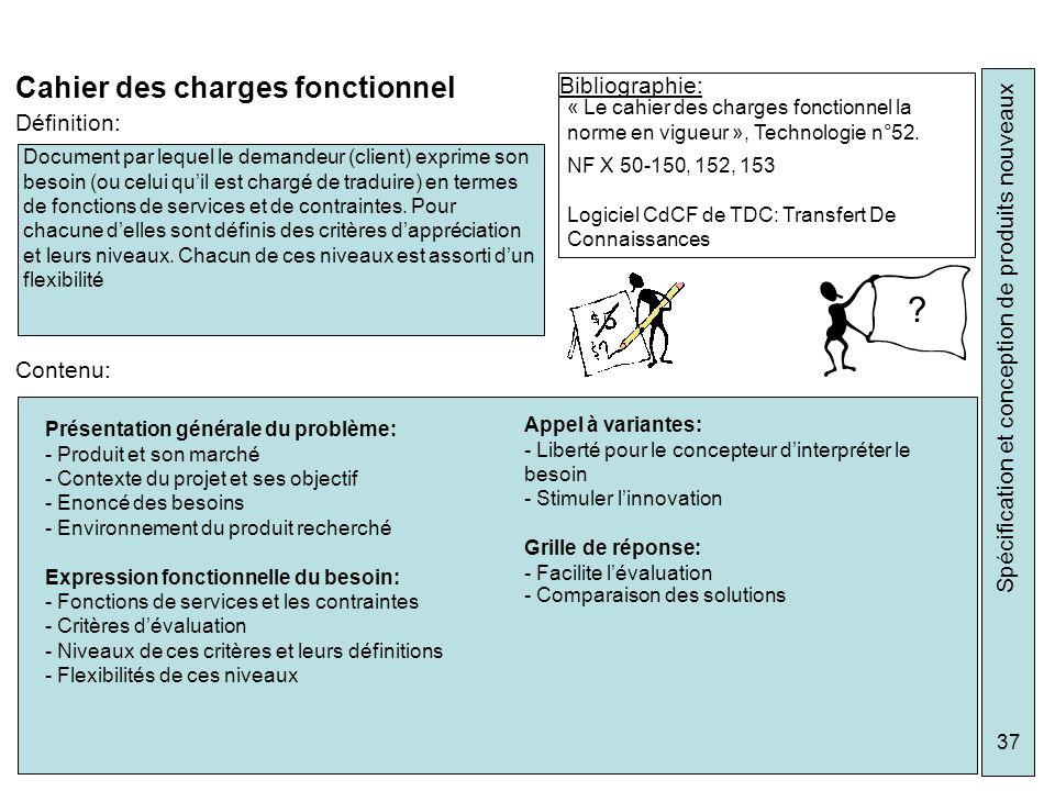 Spécification et conception de produits nouveaux 37 Cahier des charges fonctionnel Bibliographie: « Le cahier des charges fonctionnel la norme en vigu