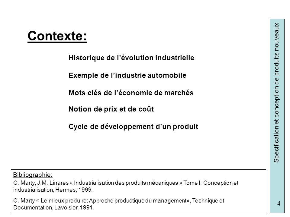 Spécification et conception de produits nouveaux 4 Historique de lévolution industrielle Exemple de lindustrie automobile Mots clés de léconomie de ma
