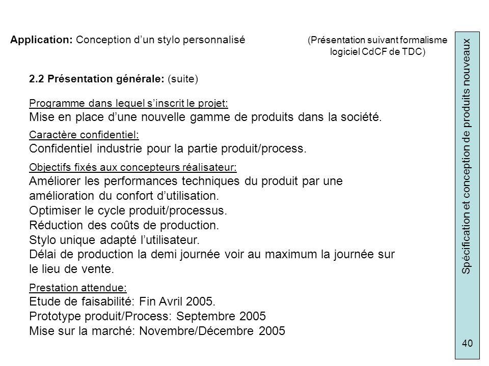 Spécification et conception de produits nouveaux 40 2.2 Présentation générale: (suite) Programme dans lequel sinscrit le projet: Mise en place dune no