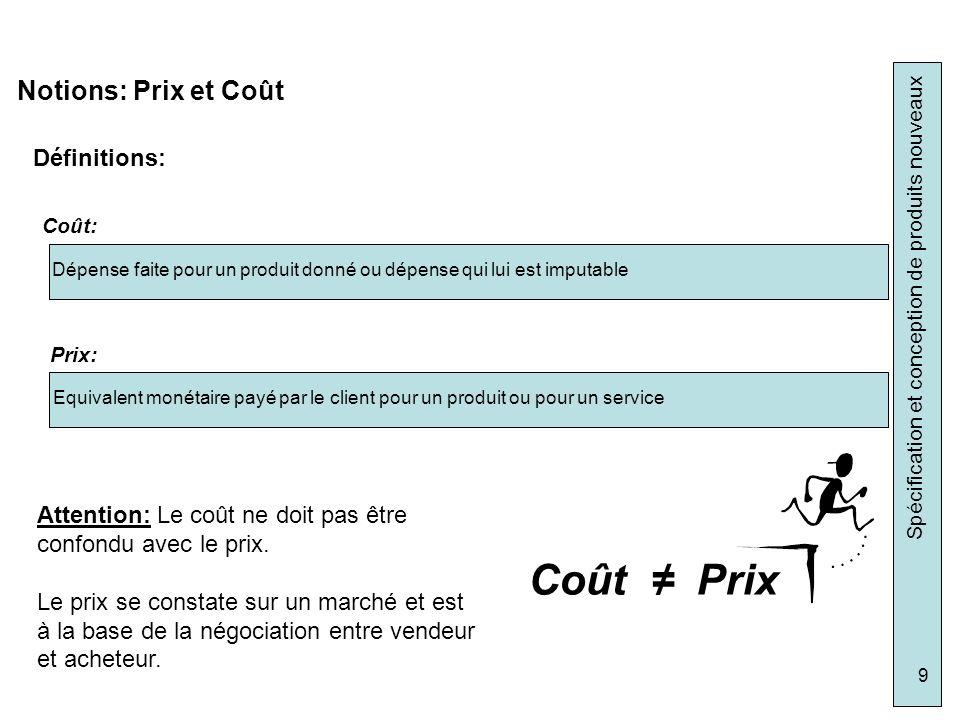Spécification et conception de produits nouveaux 9 Notions: Prix et Coût Définitions: Dépense faite pour un produit donné ou dépense qui lui est imput