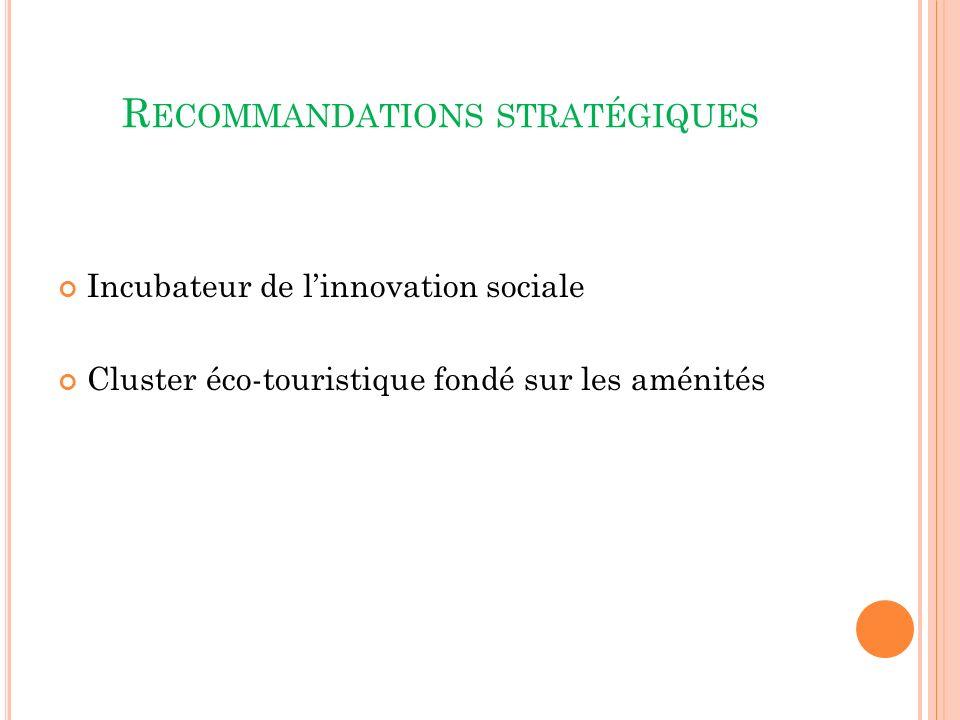 R ECOMMANDATIONS STRATÉGIQUES Incubateur de linnovation sociale Cluster éco-touristique fondé sur les aménités