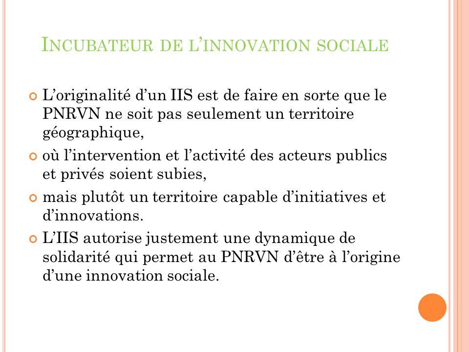 Loriginalité dun IIS est de faire en sorte que le PNRVN ne soit pas seulement un territoire géographique, où lintervention et lactivité des acteurs publics et privés soient subies, mais plutôt un territoire capable dinitiatives et dinnovations.