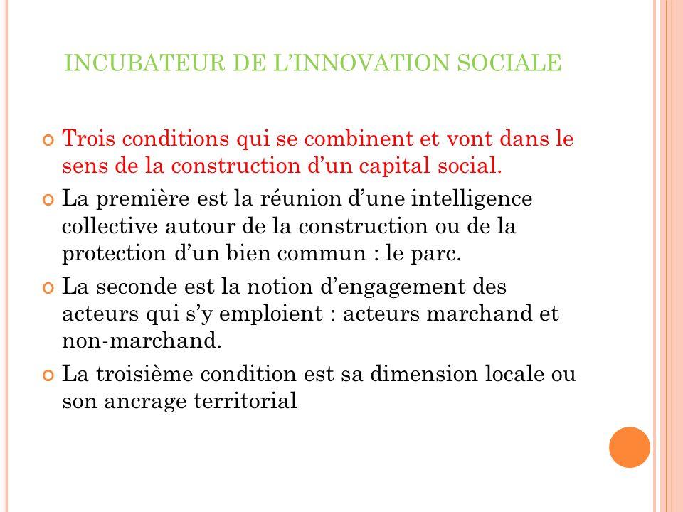 INCUBATEUR DE LINNOVATION SOCIALE Trois conditions qui se combinent et vont dans le sens de la construction dun capital social.