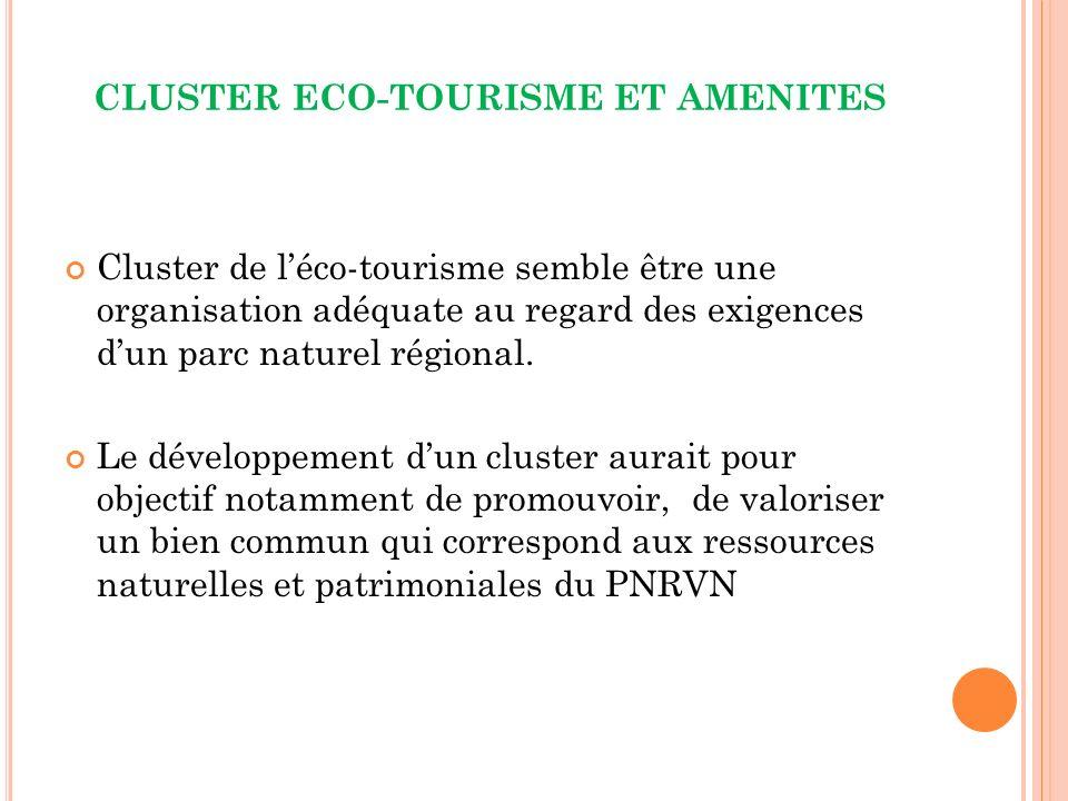 CLUSTER ECO-TOURISME ET AMENITES Cluster de léco-tourisme semble être une organisation adéquate au regard des exigences dun parc naturel régional.