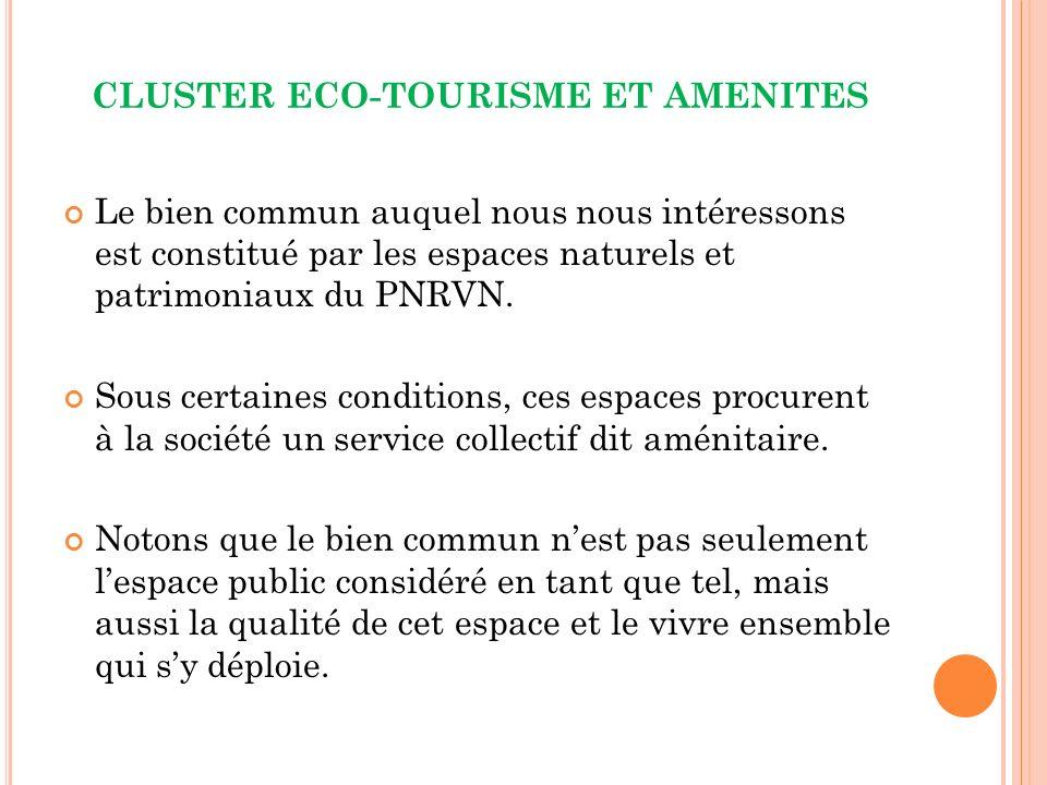 CLUSTER ECO-TOURISME ET AMENITES Le bien commun auquel nous nous intéressons est constitué par les espaces naturels et patrimoniaux du PNRVN.