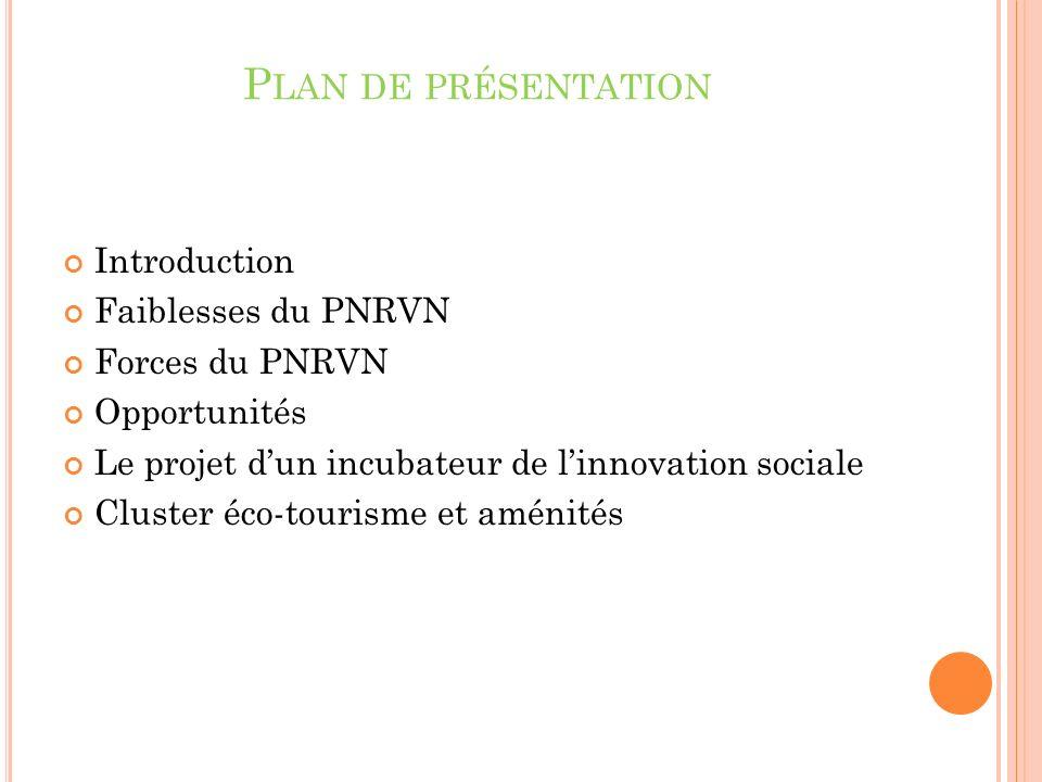 P LAN DE PRÉSENTATION Introduction Faiblesses du PNRVN Forces du PNRVN Opportunités Le projet dun incubateur de linnovation sociale Cluster éco-tourisme et aménités