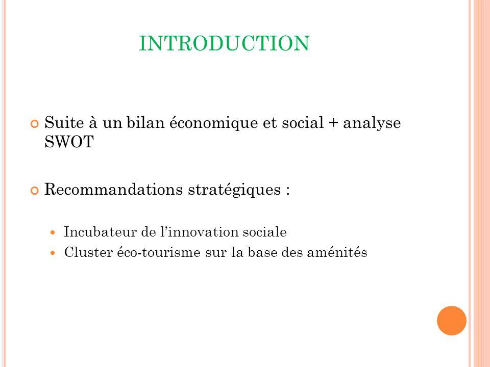 INTRODUCTION Suite à un bilan économique et social + analyse SWOT Recommandations stratégiques : Incubateur de linnovation sociale Cluster éco-tourisme sur la base des aménités