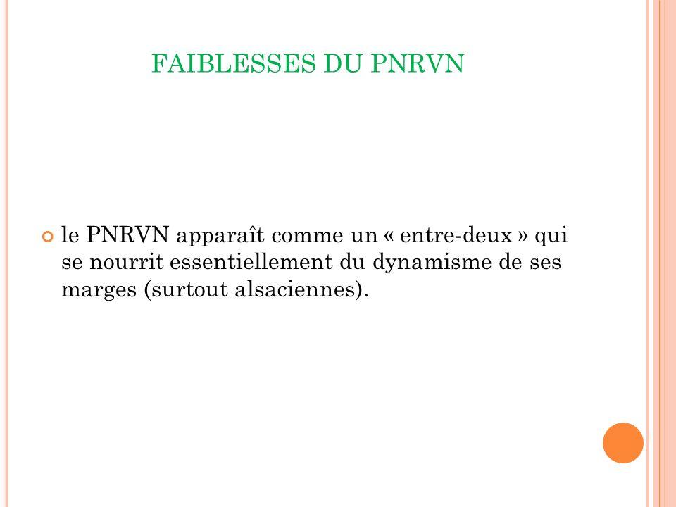 FAIBLESSES DU PNRVN le PNRVN apparaît comme un « entre-deux » qui se nourrit essentiellement du dynamisme de ses marges (surtout alsaciennes).