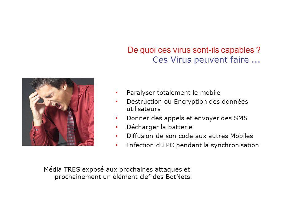 De quoi ces virus sont-ils capables ? Ces Virus peuvent faire... Paralyser totalement le mobile Destruction ou Encryption des données utilisateurs Don