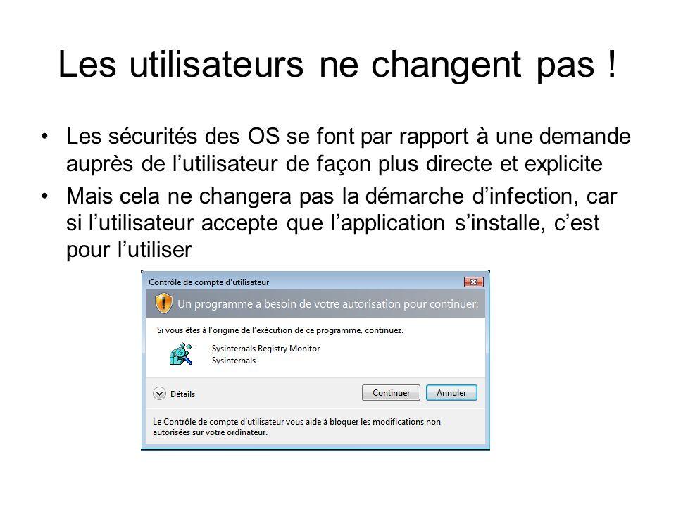 Les utilisateurs ne changent pas ! Les sécurités des OS se font par rapport à une demande auprès de lutilisateur de façon plus directe et explicite Ma