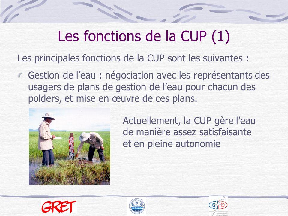 Les fonctions de la CUP (2) Collecte des redevances : préparation du budget prévisionnel annuel, mise à jour de la base de donnée des membres, collecte des redevances.