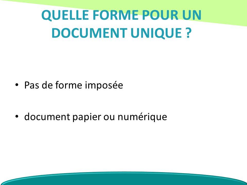 QUELLE FORME POUR UN DOCUMENT UNIQUE ? Pas de forme imposée document papier ou numérique
