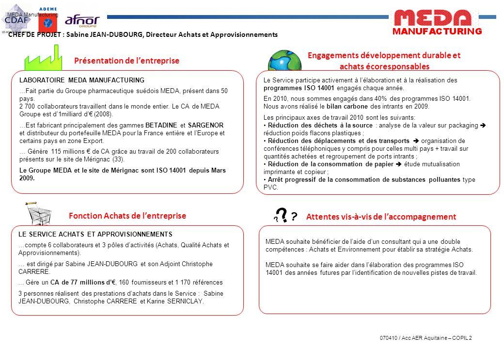 070410 / Acc AER Aquitaine – COPIL 2 LABORATOIRE MEDA MANUFACTURING …Fait partie du Groupe pharmaceutique suédois MEDA, présent dans 50 pays. 2 700 co
