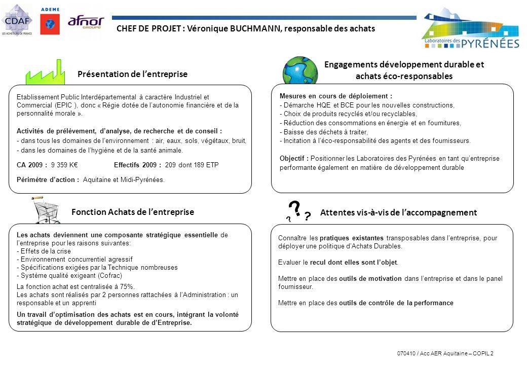 070410 / Acc AER Aquitaine – COPIL 2 ? ? ? Présentation de lentreprise Engagements développement durable et achats éco-responsables Attentes vis-à-vis
