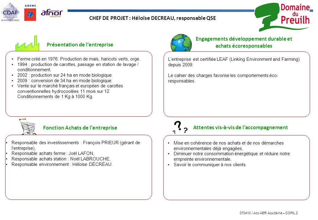 070410 / Acc AER Aquitaine – COPIL 2 ? ? ? Présentation de lentreprise Engagements développement durable et achats écoresponsables Attentes vis-à-vis
