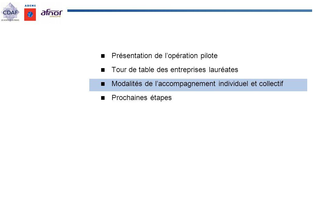 Présentation de lopération pilote Tour de table des entreprises lauréates Modalités de laccompagnement individuel et collectif Prochaines étapes