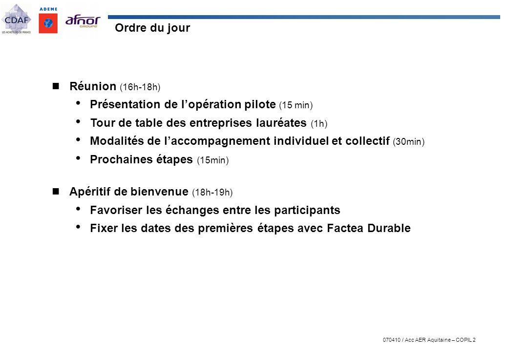 070410 / Acc AER Aquitaine – COPIL 2 Ordre du jour Réunion (16h-18h) Présentation de lopération pilote (15 min) Tour de table des entreprises lauréate