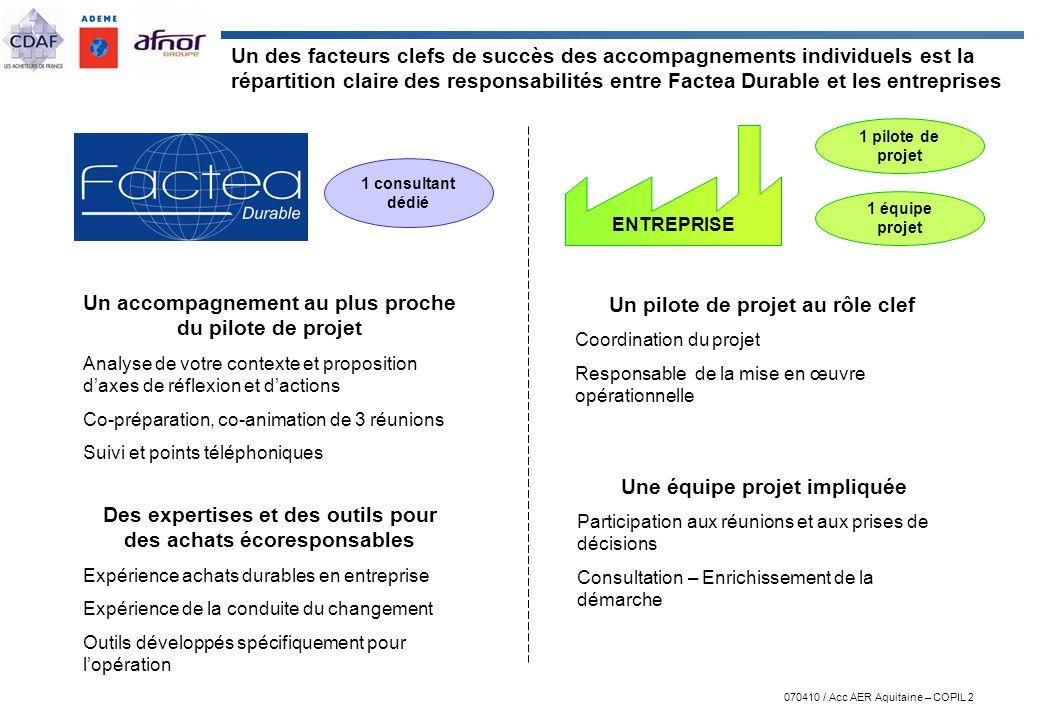 070410 / Acc AER Aquitaine – COPIL 2 Un des facteurs clefs de succès des accompagnements individuels est la répartition claire des responsabilités ent