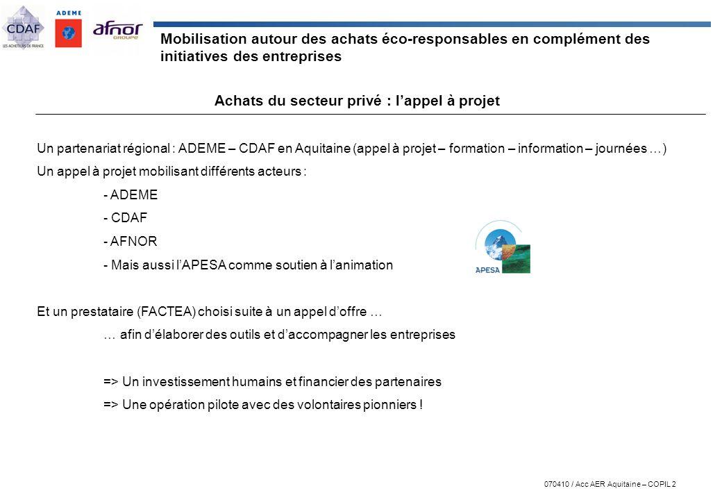 070410 / Acc AER Aquitaine – COPIL 2 Mobilisation autour des achats éco-responsables en complément des initiatives des entreprises Achats du secteur p