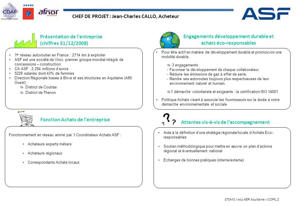 070410 / Acc AER Aquitaine – COPIL 2 ? ? ? Présentation de lentreprise (chiffres 31/12/2008) Engagements développement durable et achats éco-responsab