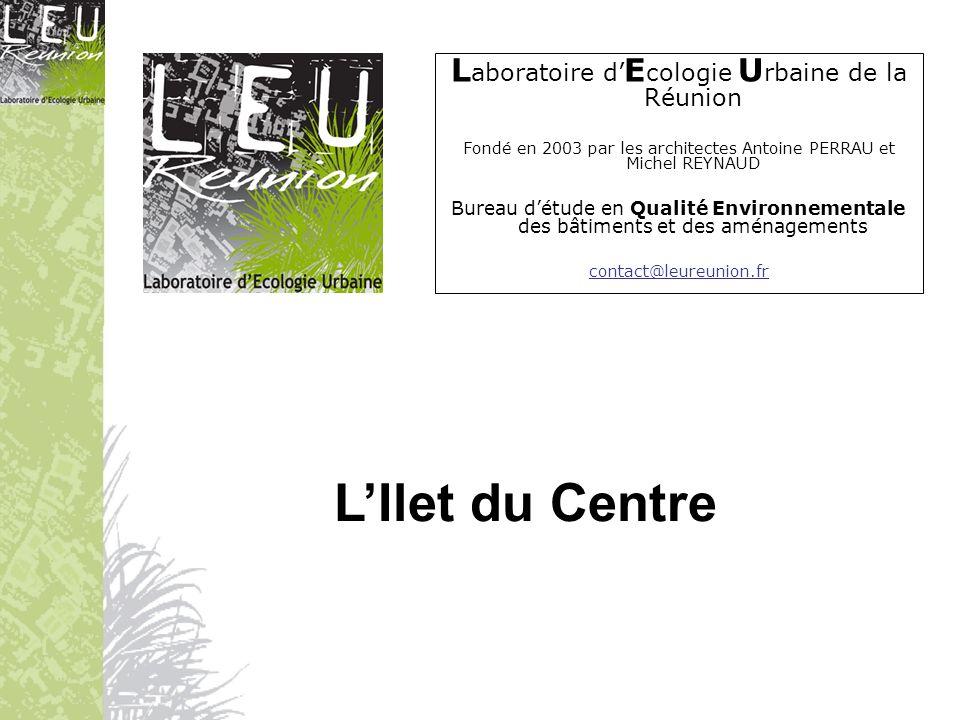 66 logements (du T1 au T4) + 312 m² de bureaux Architectes: Michel Reynaud / Antoine PERRAU BET Qualité Environnementale: Laboratoire dEcologie Urbaine de la Réunion Commune: Saint-Pierre (centre-ville) Altitude: 50 m Année dachèvement: 2008 SHON: 4123 m² Construire bioclimatique à la Réunion : Ilet du Centre