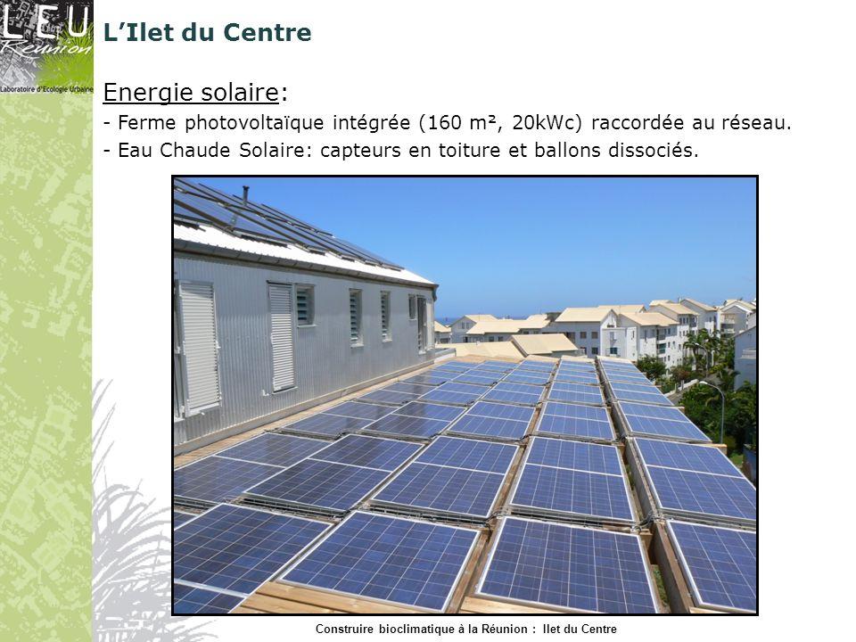 Energie solaire: - Ferme photovoltaïque intégrée (160 m², 20kWc) raccordée au réseau. - Eau Chaude Solaire: capteurs en toiture et ballons dissociés.