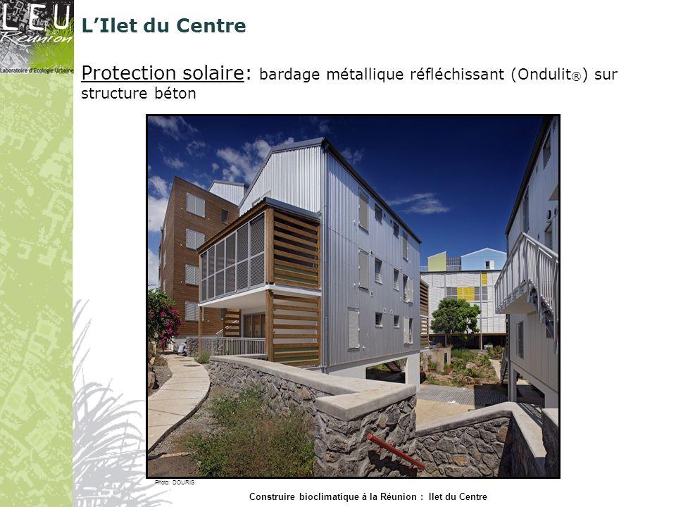 Protection solaire: bardage métallique réfléchissant (Ondulit ® ) sur structure béton Photo: DOURIS Construire bioclimatique à la Réunion : Ilet du Ce