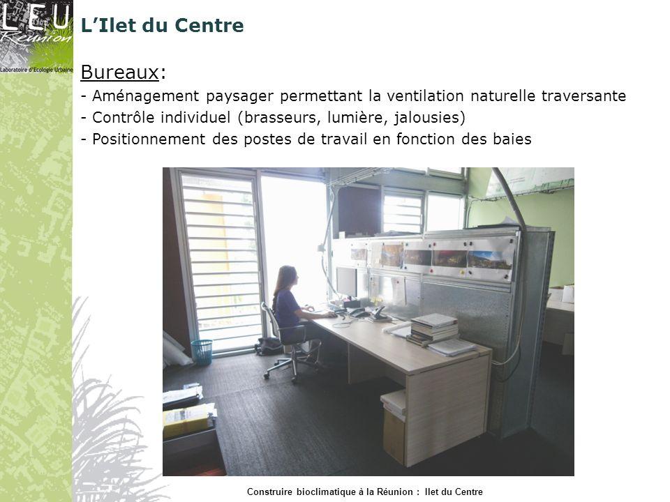 Bureaux: - Aménagement paysager permettant la ventilation naturelle traversante - Contrôle individuel (brasseurs, lumière, jalousies) - Positionnement