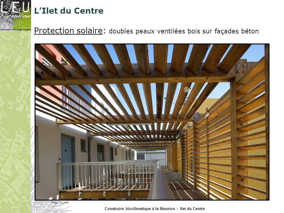 LIlet du Centre Protection solaire: doubles peaux ventilées bois sur façades béton Photo: DOURIS Construire bioclimatique à la Réunion : Ilet du Centr