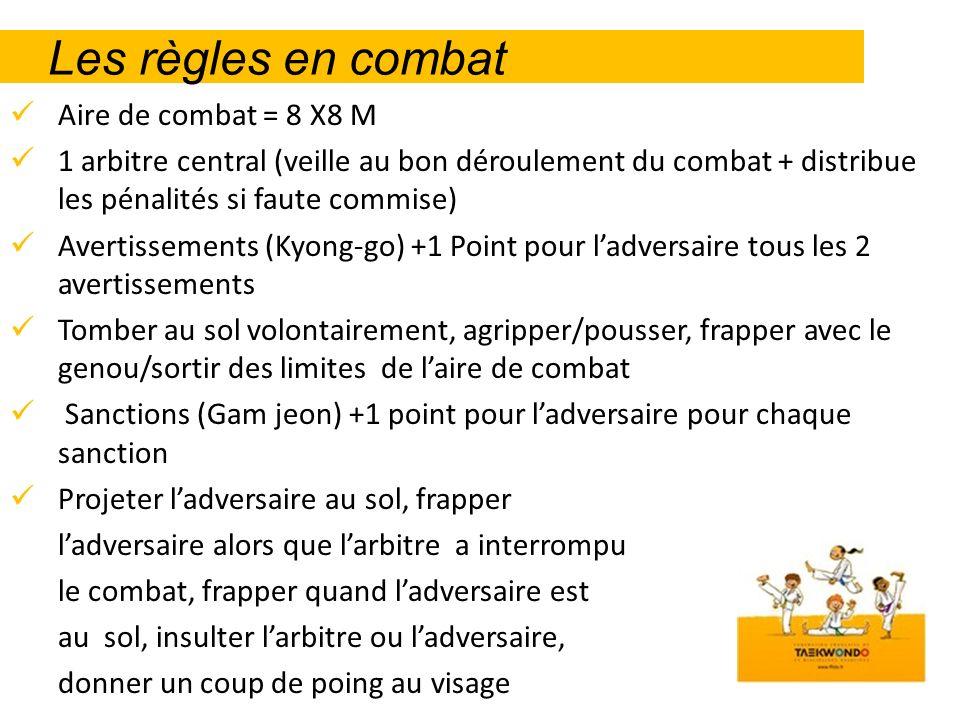 Les règles en combat Aire de combat = 8 X8 M 1 arbitre central (veille au bon déroulement du combat + distribue les pénalités si faute commise) Averti