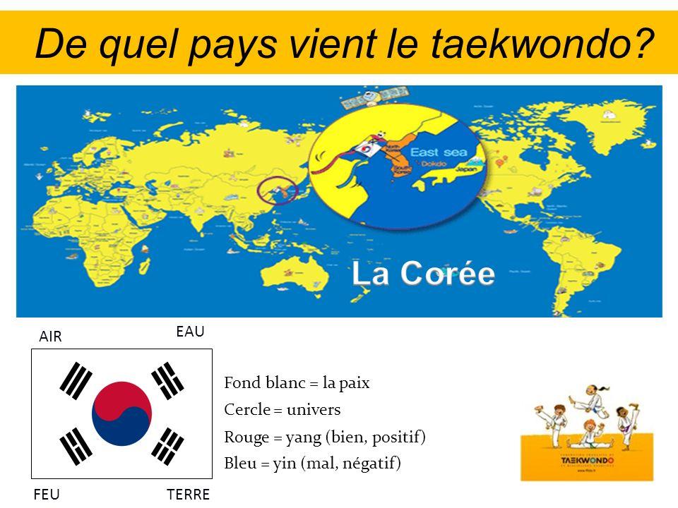 De quel pays vient le taekwondo? Fond blanc = la paix Rouge = yang (bien, positif) Bleu = yin (mal, négatif) Cercle = univers AIR EAU FEUTERRE