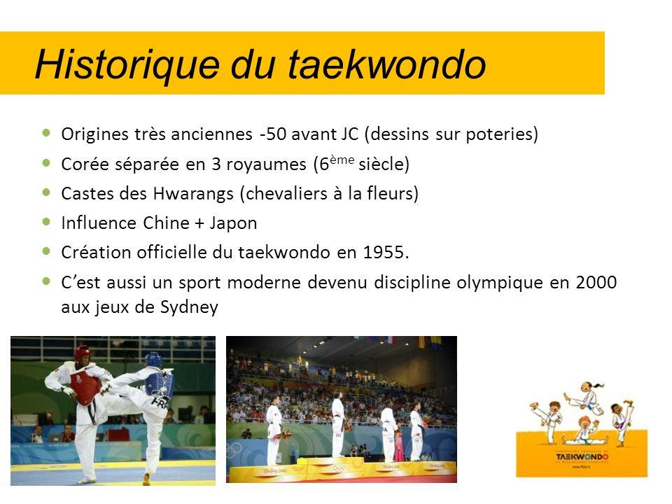 Historique du taekwondo Origines très anciennes -50 avant JC (dessins sur poteries) Corée séparée en 3 royaumes (6 ème siècle) Castes des Hwarangs (ch