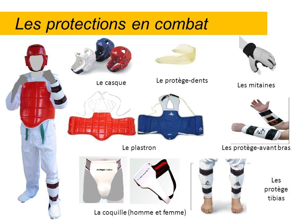 Les protections en combat Le plastron Les protège tibias Les protège-avant bras Les mitaines La coquille (homme et femme) Le protège-dents Le casque