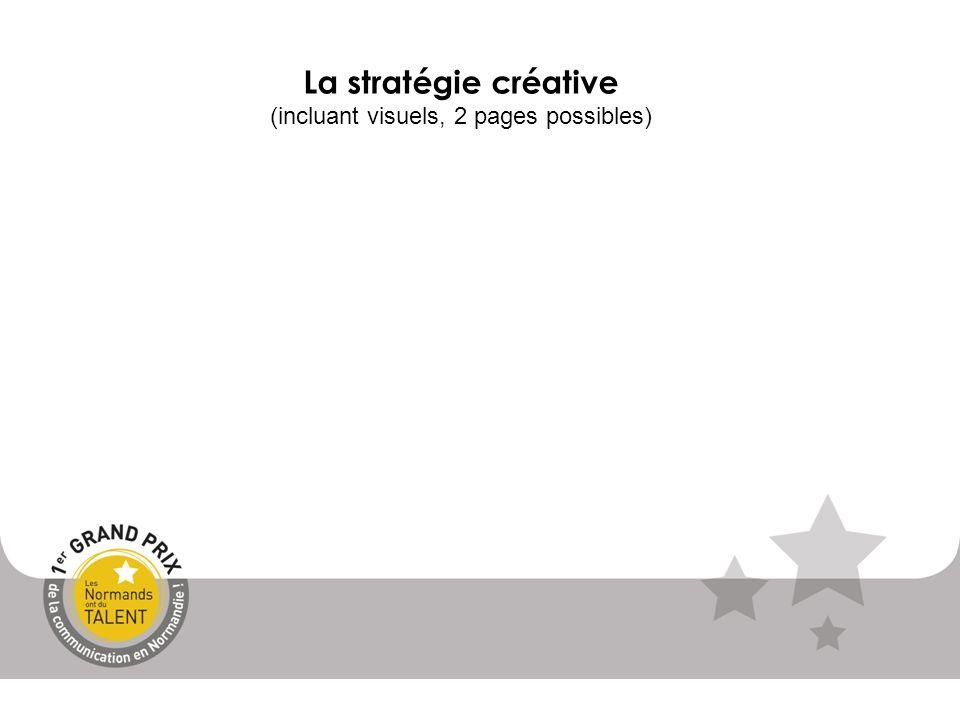 La stratégie créative (incluant visuels, 2 pages possibles)
