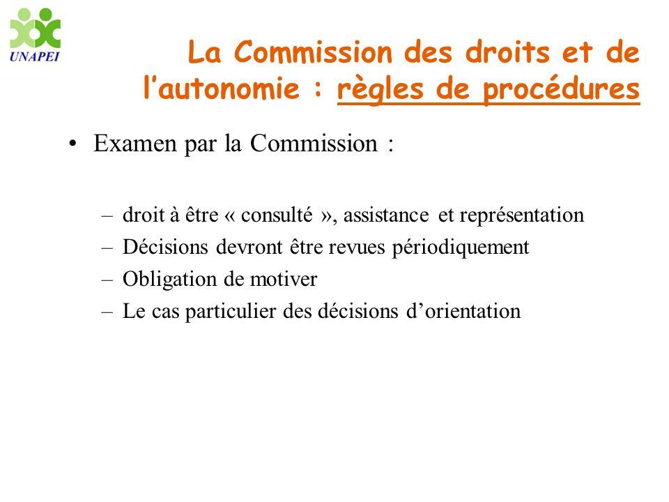 La Commission des droits et de lautonomie : règles de procédures Examen par la Commission : –droit à être « consulté », assistance et représentation –
