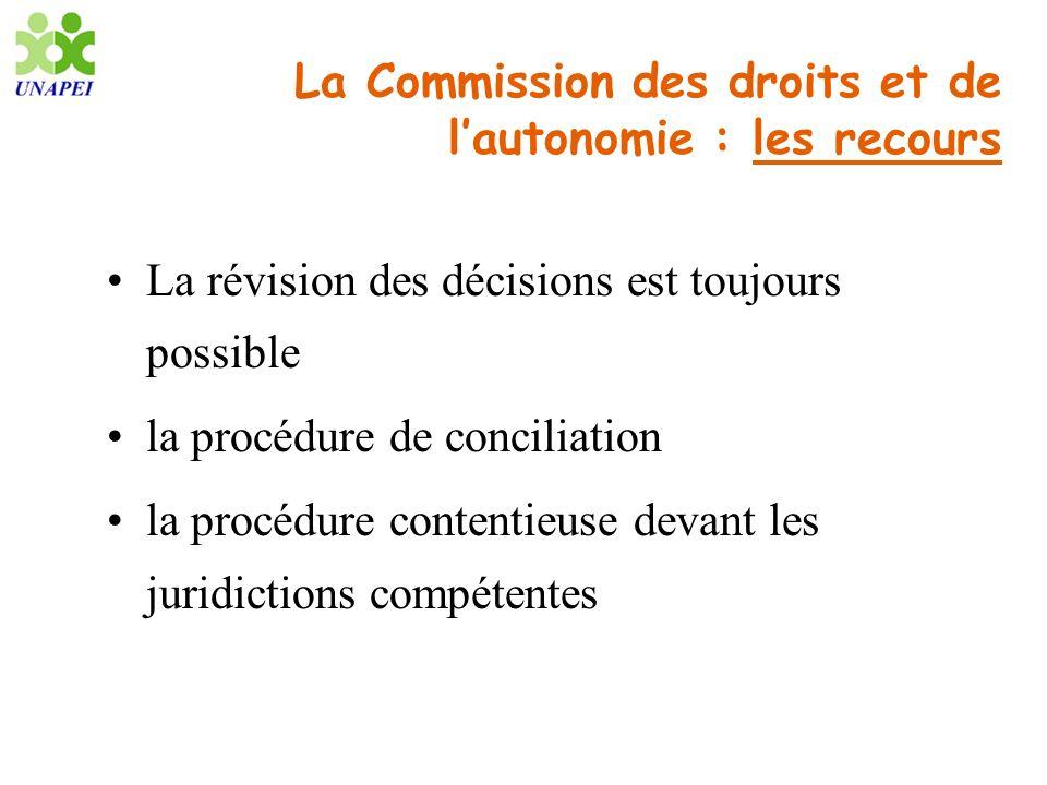 La Commission des droits et de lautonomie : les recours La révision des décisions est toujours possible la procédure de conciliation la procédure cont