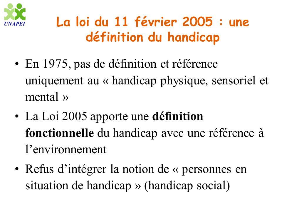 La loi du 11 février 2005 : une définition du handicap En 1975, pas de définition et référence uniquement au « handicap physique, sensoriel et mental
