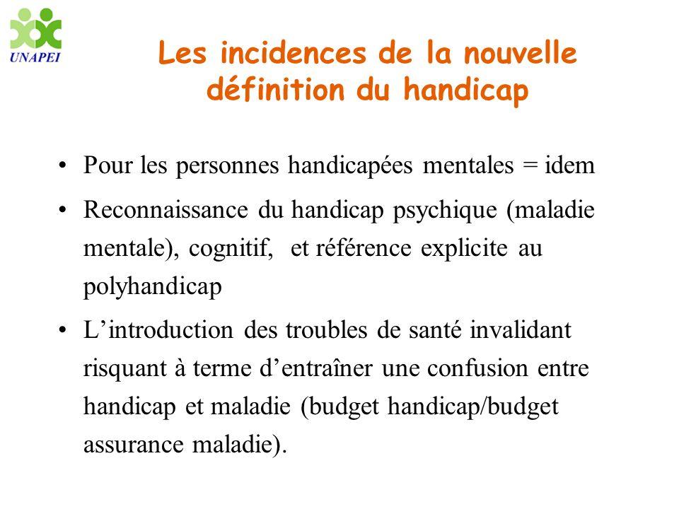 Les incidences de la nouvelle définition du handicap Pour les personnes handicapées mentales = idem Reconnaissance du handicap psychique (maladie ment