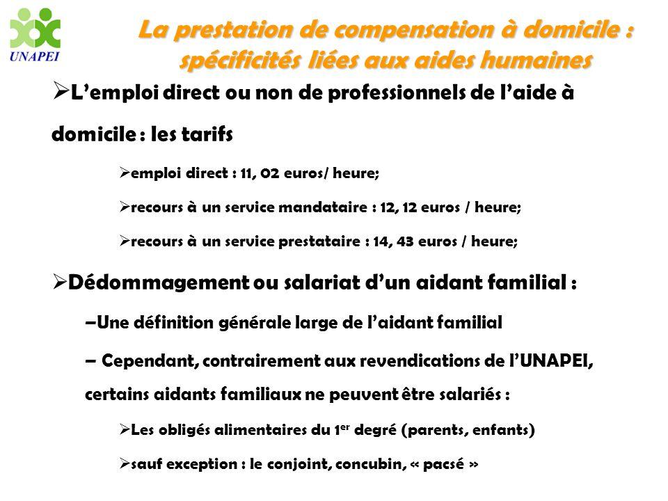 La prestation de compensation à domicile : spécificités liées aux aides humaines Lemploi direct ou non de professionnels de laide à domicile : les tar