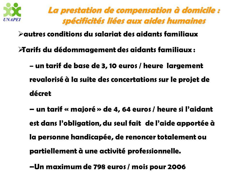 La prestation de compensation à domicile : spécificités liées aux aides humaines autres conditions du salariat des aidants familiaux Tarifs du dédomma