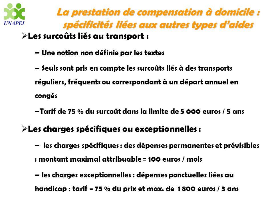 La prestation de compensation à domicile : spécificités liées aux autres types daides Les surcoûts liés au transport : – Une notion non définie par le