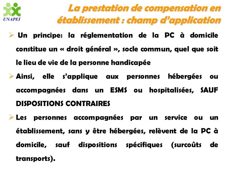 La prestation de compensation en établissement : champ dapplication Un principe: la réglementation de la PC à domicile constitue un « droit général »,
