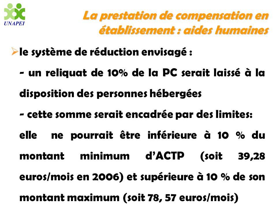 La prestation de compensation en établissement : aides humaines le système de réduction envisagé : - un reliquat de 10% de la PC serait laissé à la di